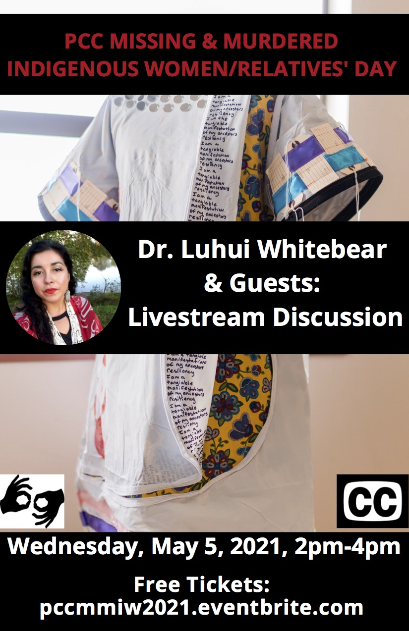 Dr. Luhui Whitebear and Guests: Missing and Murdered Indigenous Women/Relatives' Day Poster