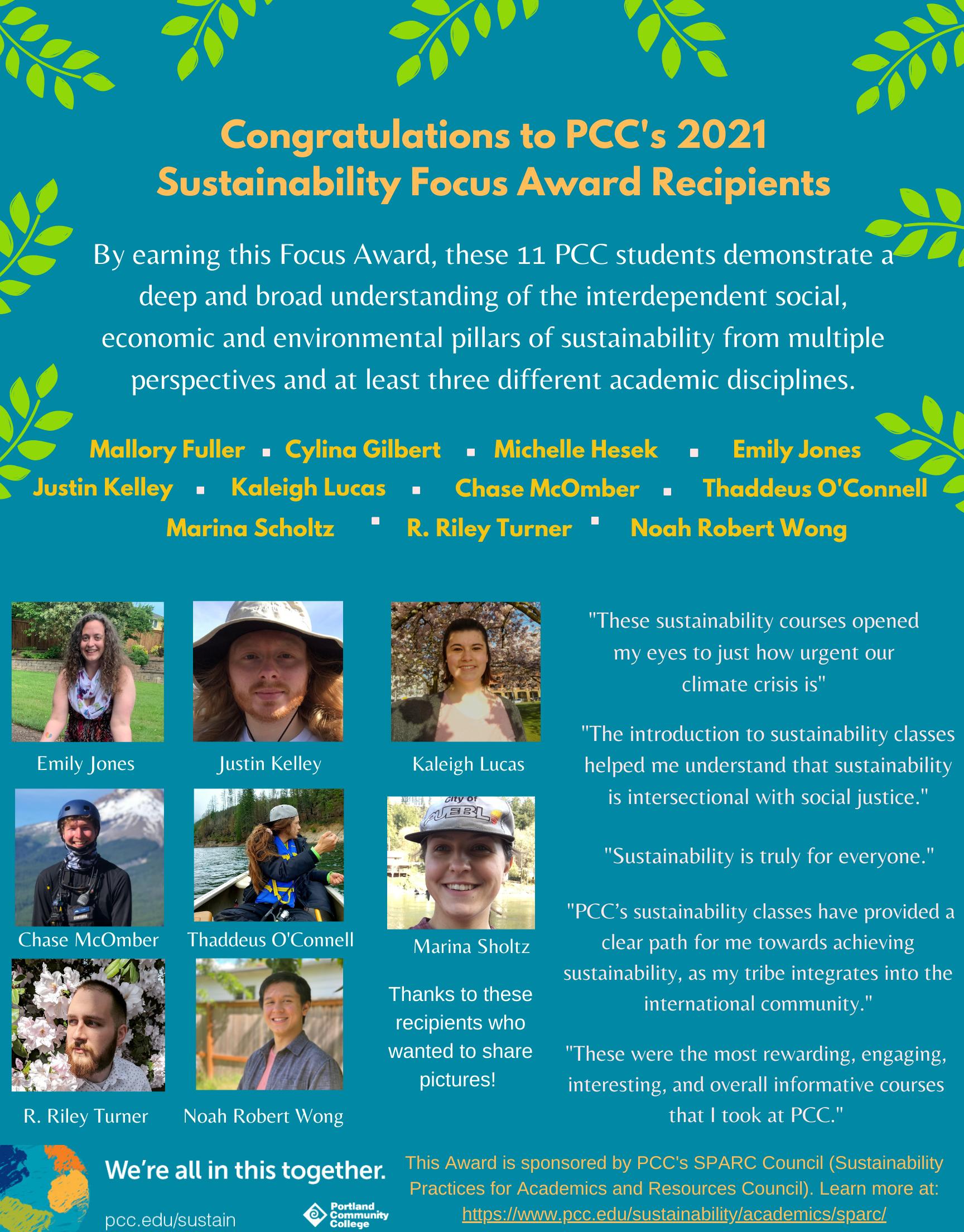 PCC's 2020 Sustainability Focus Award Recipients