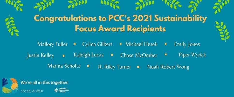 Sustainability Focus Award Winners