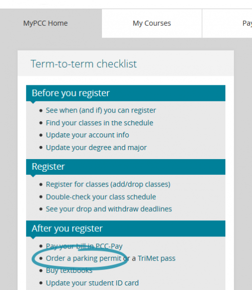 Order a parking permit link in MyPCC in the term-to-term checklist box