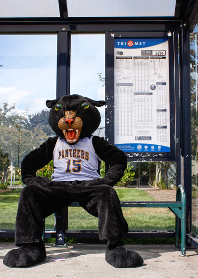Poppe the Panther at a bus stop