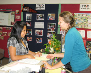 TRIO staff member and student