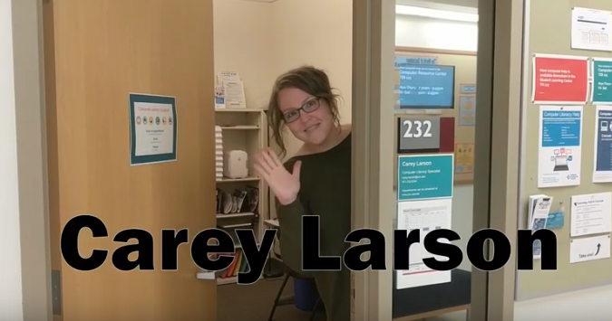 Image of Carey Larson welcoming students.