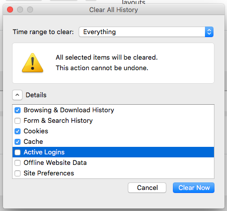 "Firefox's Clear All History window with ""browsing & download history"", ""cookies"" and ""cache"" checked"
