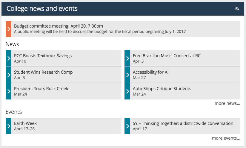 Full news, events and announcements section