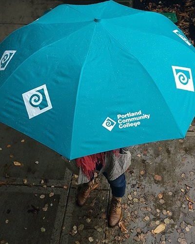 Turquoise PCC umbrella from above