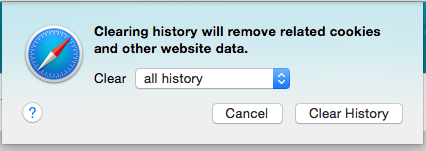 "Safari's Clear History window with ""clear: all history"" selected"