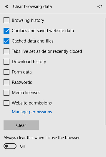 "Edge browser clear history box with ""Cookies and saved website date"" and ""Cached data and files"" selected"