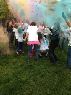 Students participating in the Color Run