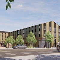 Rendering of northeast view of the housing building from NE Killingsworth St. provided by Hacker Architects