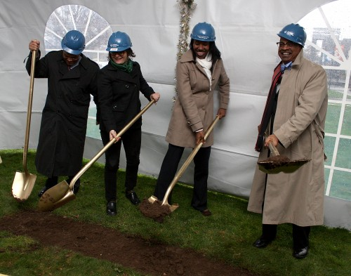 Left to right, Cascade President Algie Gatewood, Cascade Student Leader Esther Forbyn, PCC Board Member Kali Thorne Ladd and College President Preston Pulliams. Campus and college leaders as well as key community partners attended the campus' bond groundbreaking on Tuesday, Dec. 11 at the site of where the new underground parking structure will be built.