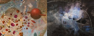 Left to right, Julia Stoops' 'Thought and Spirit,' and Meg Peterson's 'Orbit II.'