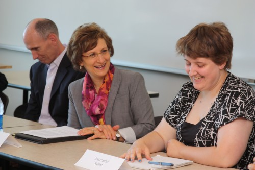Congresswoman Suzanne Bonamici (left) has a light moment with Southern Oregon University student Oneta Cantlon during Bonamici's roundtable at Willow Creek. The day's discussion revolved around her Opportunities for Success Act (HR 2659), which would help make unpaid internships more accessible to low-income students.