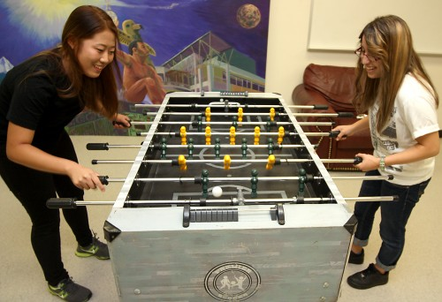 Rock Creek students Da Hyun Kim (left) and Yollixpa Rios Martinez demonstrate the opportunities for any student to relieve stress and have fun.