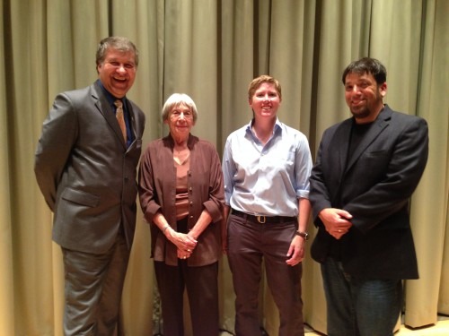 Ursula K. Le Guin with President Jeremy Brown and faculty members Tanya Pluth and Blake Hausman.