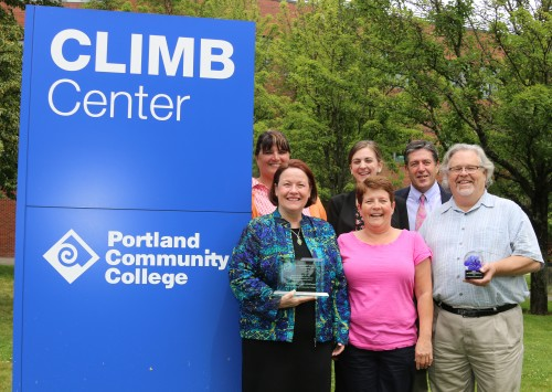 PCC's SBDC staff, left to right, front row: Tammy Marquez-Oldham (director), LaQuita Martin (client services coordinator) and Sean Harry (business advisor); back row: Yevette Johnson (program specialist), Kristen Mozian (client services manager and, Bob Hanks (executive director of CLIMB).