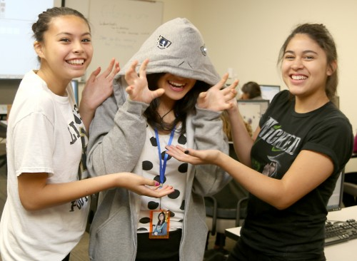 Miranda O. Salinas (left) of West Linn High School and Ariana Rivera of Hillsboro's Century High School were part of the Wearable Tech Summer Camp at the Sylvania Campus' MakerSpace in August. Fellow camper Madeline Pitoby is wearing the hoodie.