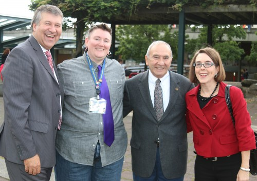 Left to right, President Jeremy Brown, student leader Kole Myrick, State Rep. Joe Gallegos and Oregon Secretary of State Kate Brown made it their mission to register students to vote in the Nov. 4 election.