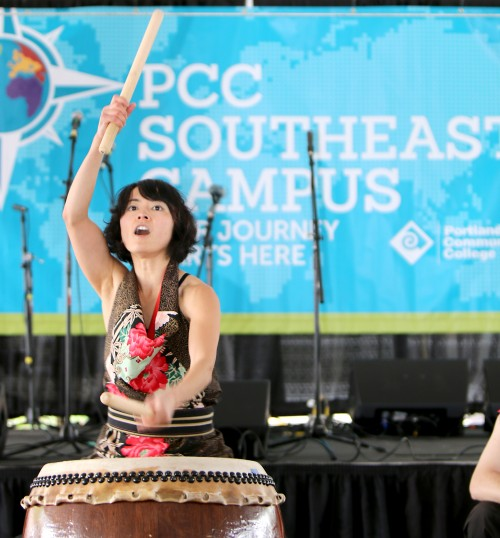 Taiko lead drummer Yumi Torimaru dazzles the Southeast Campus crowd at the Oct. 18 grand opening of the new campus.