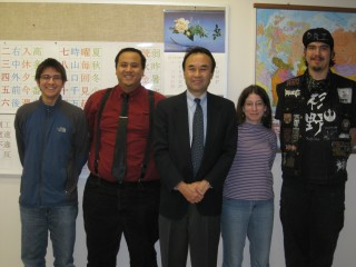 Left to right, PCC students Michael Schuetz and Tuan Tran, Counsul General Hiroshi Furusawa and students Hannah Mann and Connor Sugino.