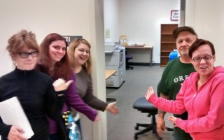 """This December, the student teams show off the """"newly"""" reorganized Print Center room at Southeast Campus. Counter clockwise from left they are: Janet Freeman, Alexus Jordan, Kendal Kelleher, Richard Williams, and Mindy Cobb."""