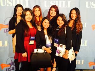 Rock Creek students visit Chicago for the USHLI conference in February. Front row, from left to right: Jazbel Diaz, Cassandra Garcia and Lidia Limon; Back row, from left to right: Mayra Salazar, Jennifer Werekeitzen, Irene Ramirez and Adriana Serrato.