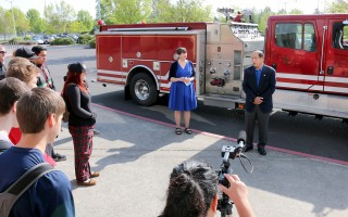 'We are extremely happy that we have this opportunity to turn over this fire engine for you students as a learning platform,' said John Saito, dean of Allied Health, Emergency, and Legal Services at PCC's Cascade Campus.