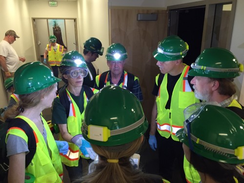 C-CERT team members huddle up during the recent earthquake simulation at Cascade.