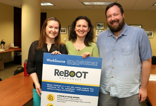 Reboot coaches, including (left to right) Jennifer Poinar and Larisa Felty of PCC, and Sam Wilson of SE Works, welcome all qualified unemployed and underemployed workers to the new program to get a needed reboot on their careers.