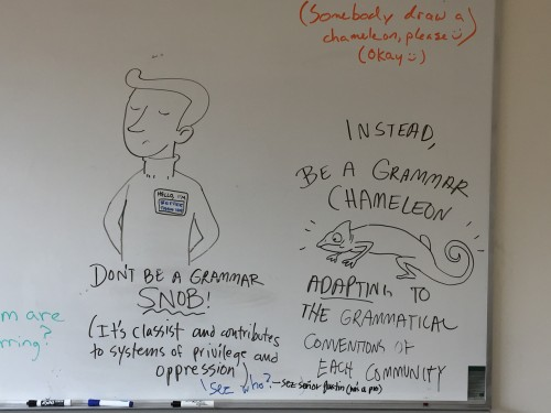 Don't be a grammar snob! Words to live by in the Cascade Writing Center.