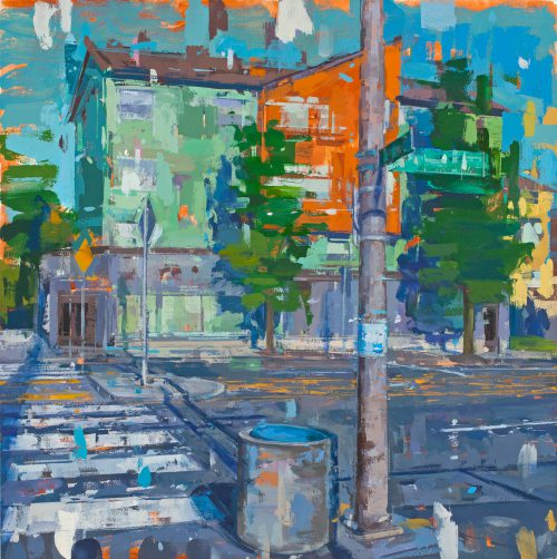"""""""Going Street and MLK"""" by Nora Lehmann is 22-inch-square oil painting that depicts the heart of the historic Killingsworth commercial district bordering Cascade Campus."""