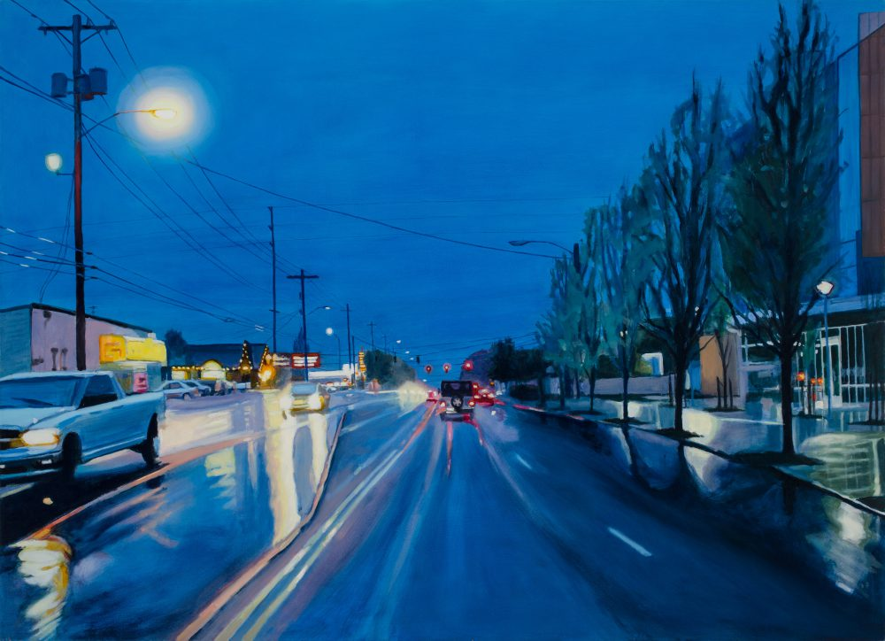 """""""Adjacent,"""" a painting by local artist Shawn Demarest, is part of a triptych that illustrates street scenes bordering PCC Southeast. The three paintings hang in the campus' new library."""