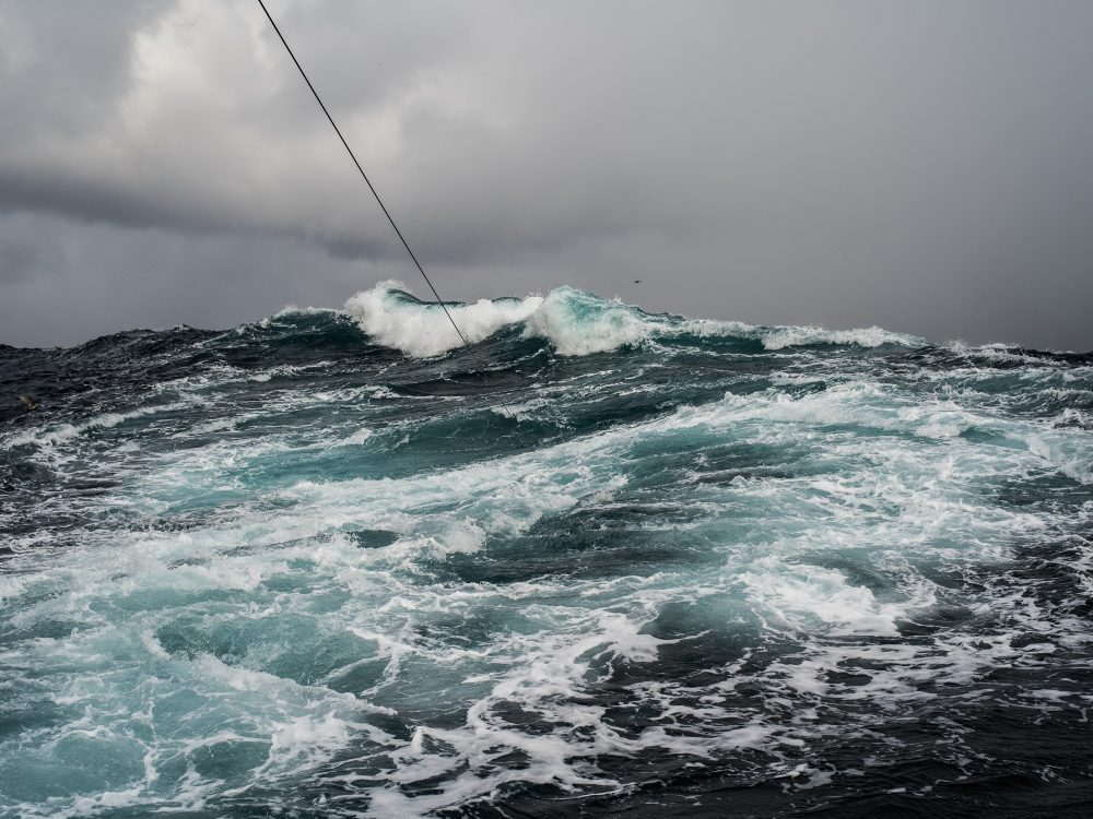 """Corey Arnold's """"Headrope,"""" a photograph purchased by Rock Creek Campus, captures a fishnet rope amid stormy seas. Arnold is fisherman and photographer based in Portland."""