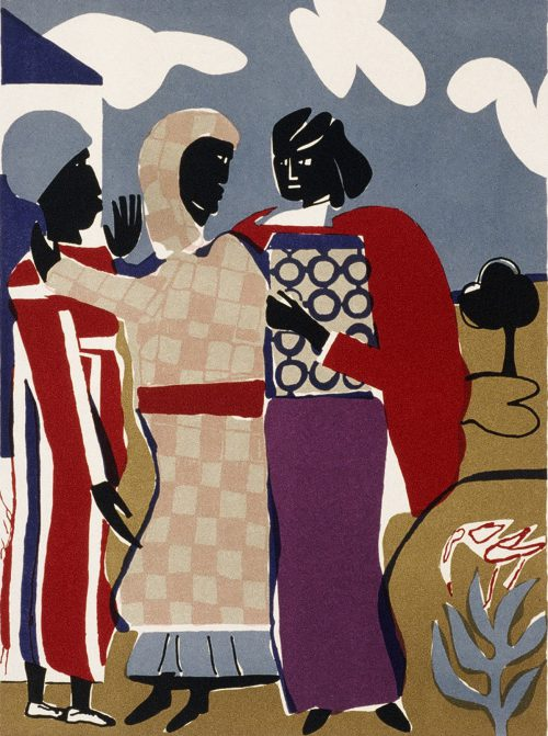 """""""Three Women (Easter Sunday),"""" a color lithograph hanging in Rock Creek's Building 5, was done by the late artist Romare Bearden, who often depicted African-American life."""