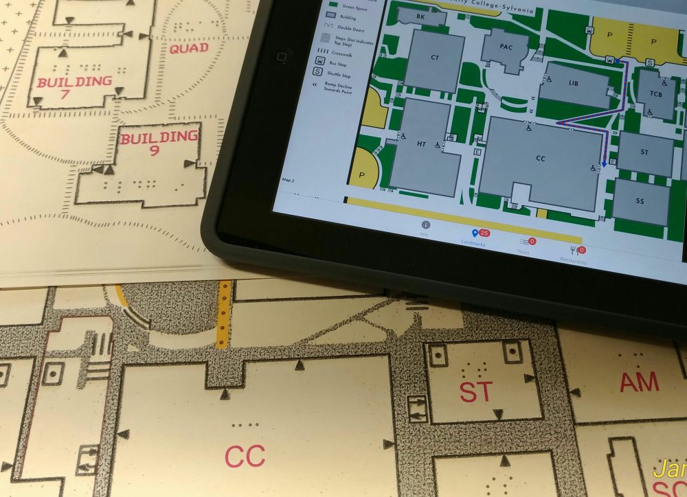 Wayfinding around PCC campuses and centers is easier for people with disabilities thanks to tactile maps with Braille and raised lines as well as low-vision maps that can be accessed on mobile devices with PCC's Click and Go app.