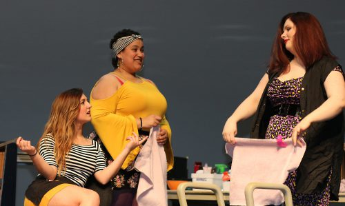 Left to right, Brice Schmietenknop as Vanessa, Lauren Hernandez-Lamont as Carla and Hannah Thorton as Daniela.