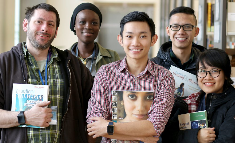 Students say the rising costs of textbooks has impacted their pocket books. Left to right are San Jesperson, Nadia Halirou, Kien Truong, Tai Pham and Hieu Tran.