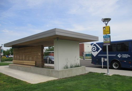 New bus shelter and PCC shuttle at Southeast Campus.