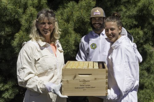 Pictured (left) are Anne LeSenne, Landscape Technology instructor at Rock Creek, bee keeping student Michael Patterson, and Flow Hive donor Harlene Beuhler.