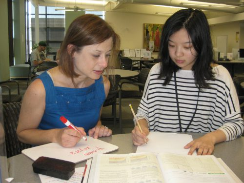 Jessica Bernards with Rock Creek student Samantha Huang.