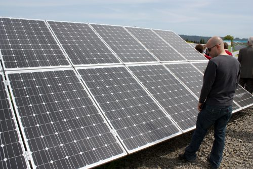 Rock Creek Campus' solar array provides sustainable power to the campus.