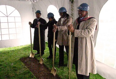 From left to right, Dr. Gatewood, Esther Forbyn, Kali Thorne Ladd and Dr. Pulliams take part in the groundbreaking ceremony.