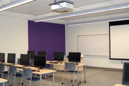 General purpose classrooms in the new Student Commons are equipped with ceiling-mounted digital projectors for class presentations.