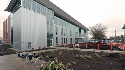 The main entrance to the new Answer Center on the first floor is on the west side of the building.