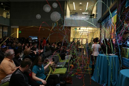 """The """"New Beginnings"""" celebration for the completion of Phase I of bond improvements at Cascade Campus ended with a bang, and a room full of paper streamers."""