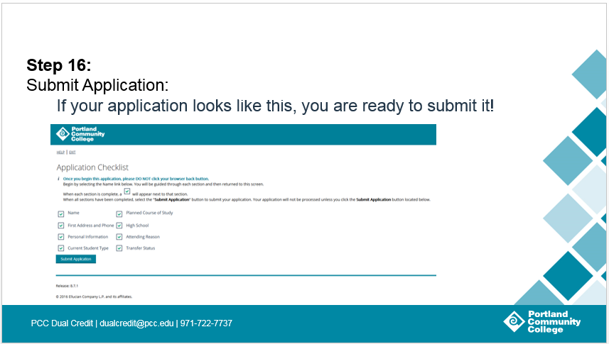 Step 16: Submit Application: If your application looks like this, you are ready to submit it!