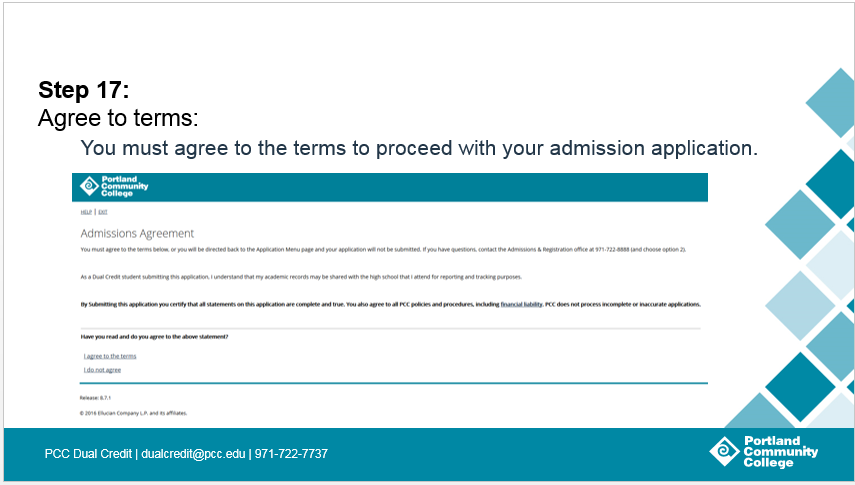 Step 17: Agree to terms: You must agree to the terms to proceed with your admission application.