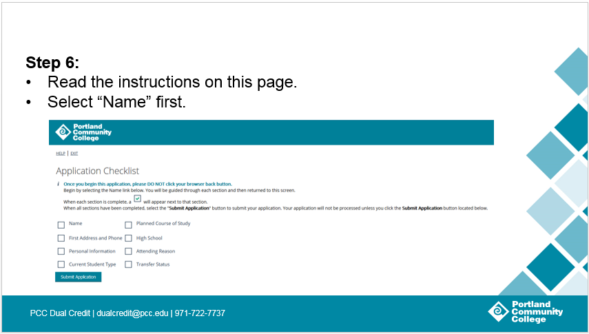Step 6: Read the instructions on this page. Select 'Name' first.