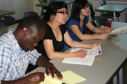 Three students studying